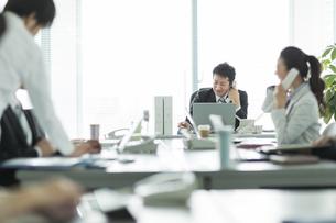 オフィスで働くビジネスマンとビジネスウーマンの写真素材 [FYI01624637]