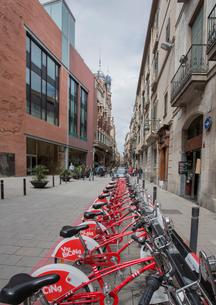 通りに並ぶレンタル自転車の写真素材 [FYI01625742]