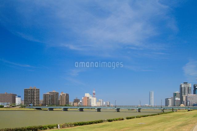 信濃川に架かる八千代橋と街並みの写真素材 [FYI01627347]