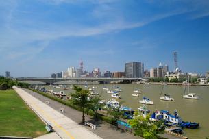 信濃川に架かる柳都大橋とヨットの写真素材 [FYI01627454]