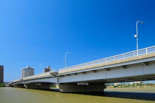 信濃川に架かる千歳大橋の写真素材 [FYI01627710]
