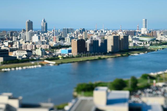 新潟市の街並みと信濃川の写真素材 [FYI01627749]