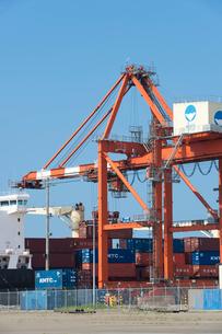 ガントリークレーンと貨物船の写真素材 [FYI01628218]