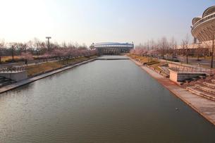新潟県スポーツ公園のカナール運河とスポーツ施設の写真素材 [FYI01628430]