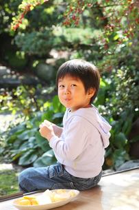縁側で梨を食べる男の子の写真素材 [FYI01628514]