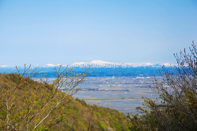 弥彦山より春の田園風景の写真素材 [FYI01628543]