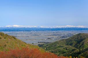 弥彦山より春の田園風景の写真素材 [FYI01628689]
