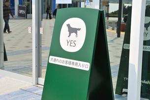 犬連れのお客様専用入り口の写真素材 [FYI01628750]