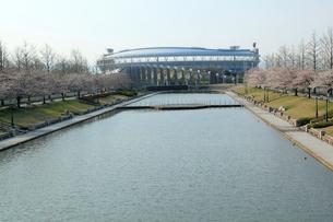 新潟県スポーツ公園のカナール運河とスポーツ施設の写真素材 [FYI01629270]
