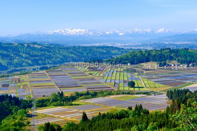 山本山山頂より春の田園風景を望むの写真素材 [FYI01629940]