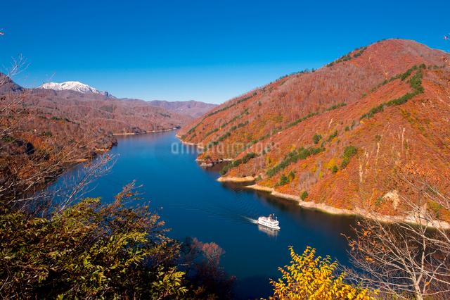 秋の奥只見湖と遊覧船の写真素材 [FYI01629997]