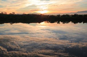 朝の信濃川の写真素材 [FYI01630102]