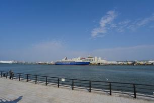 信濃川河口に大型カーフェリーの写真素材 [FYI01630306]