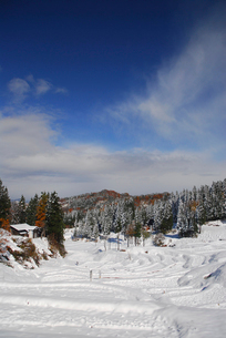 雪の棚田の写真素材 [FYI01630324]