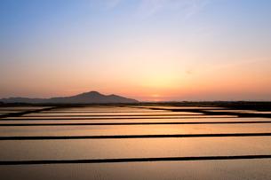 角田山と田園風景の夕景の写真素材 [FYI01630477]