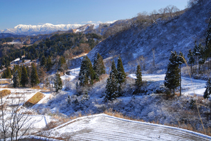 雪の棚田の写真素材 [FYI01630495]