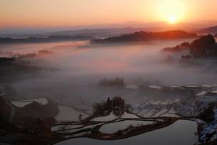 朝もやに包まれた棚田棚池と朝日の写真素材 [FYI01630574]