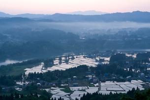 朝もやに包まれた山並みと水田の写真素材 [FYI01630579]