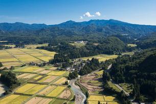 守門岳と秋の田園風景の写真素材 [FYI01630884]