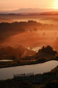 朝日射す山並みと棚田の写真素材 [FYI01630988]