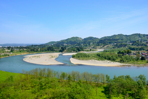 越後川口SAより信濃川を望むの写真素材 [FYI01631084]