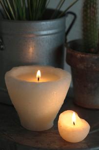 観葉植物とキャンドルの写真素材 [FYI01634819]