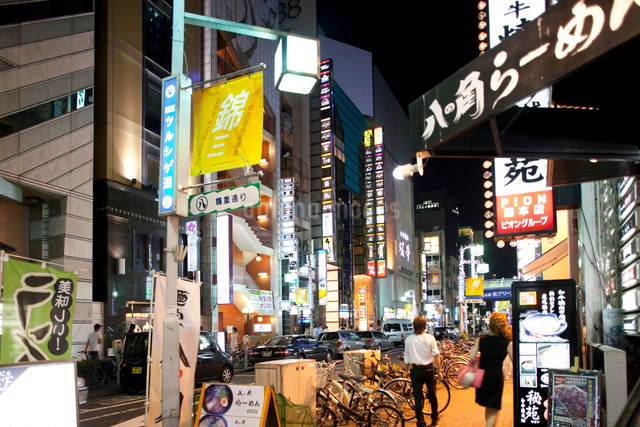 夜の錦三丁目の写真素材 [FYI01635980]