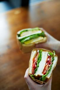 サンドイッチを持つ女性の手の写真素材 [FYI01637946]