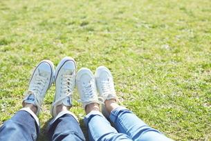 芝生で仲良く座るカップルの写真素材 [FYI01638059]