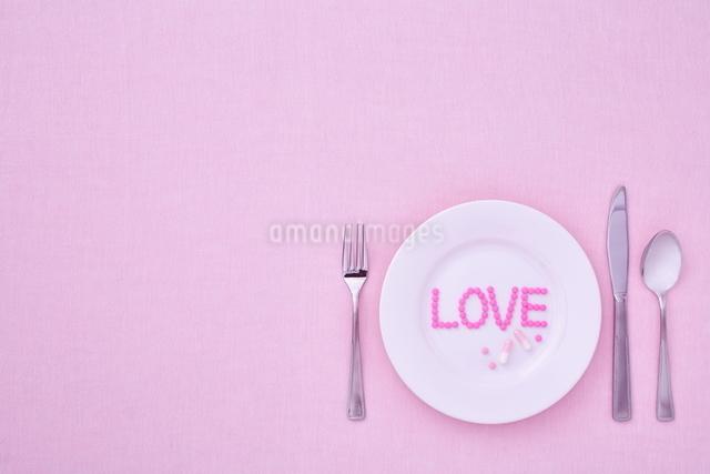 お皿に乗った愛のサプリメントの写真素材 [FYI01638437]