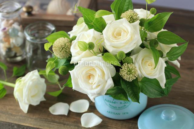 白いバラを飾るの写真素材 [FYI01638476]