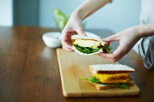 サンドイッチを作る女性の写真素材 [FYI01638711]