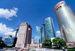 東方テレビタワーが見える都市の写真素材 [FYI01639199]