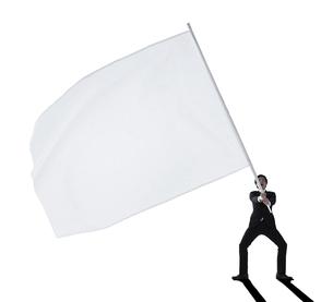 大きな旗を振る男性の写真素材 [FYI01639245]
