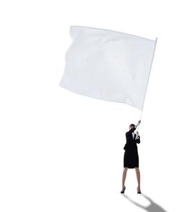 大きな旗を振る女性の写真素材 [FYI01639317]