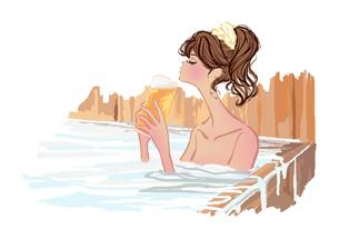 温泉で生ビールを飲む女の子のイラスト素材 [FYI01639597]