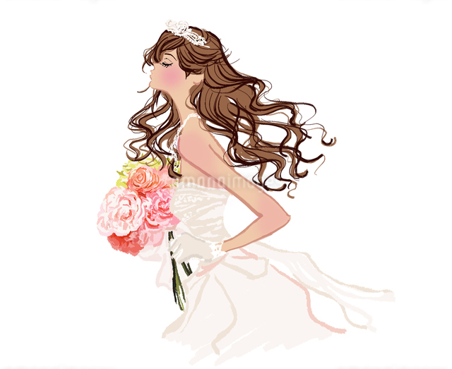 ウエディングドレスを着た女の子のイラスト素材 [FYI01639615]