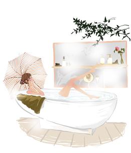 お風呂に入る女性のイラスト素材 [FYI01639626]
