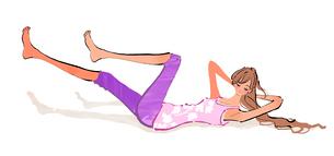 腹筋のエクササイズをする女性のイラスト素材 [FYI01639627]