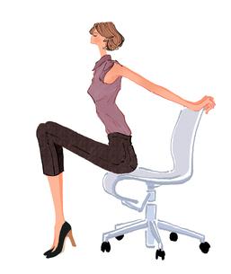 椅子でストレッチする女性のイラスト素材 [FYI01639638]