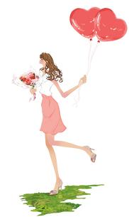 花とハートの風性を持つ女性のイラスト素材 [FYI01639648]