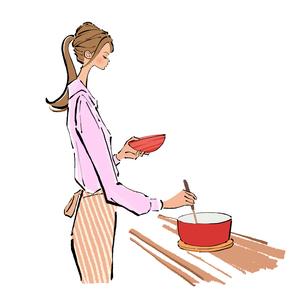 料理をしながら味見をするエプロンをした女性のイラスト素材 [FYI01639650]