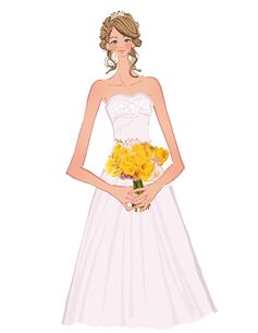 ウェディングドレスの女性とブーケのイラスト素材 [FYI01639656]
