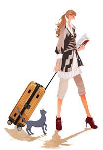 スーツケースをひくポニーテールの女の子と猫のイラスト素材 [FYI01639661]