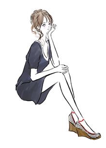 腰掛けて頬杖をつく女の子のイラスト素材 [FYI01639670]