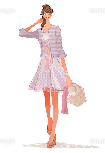 春に街に出かける女性のイラスト素材 [FYI01639671]