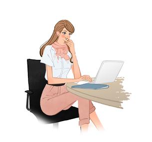 オフィスで椅子に座りノートパソコンを使って仕事する女性のイラスト素材 [FYI01639676]