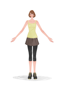 エクササイズでリラックスするショートカットの女性のイラスト素材 [FYI01639679]