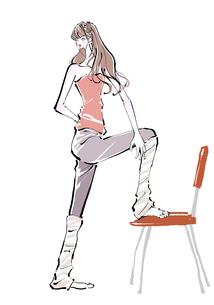 椅子でストレッチする女性のイラスト素材 [FYI01639681]