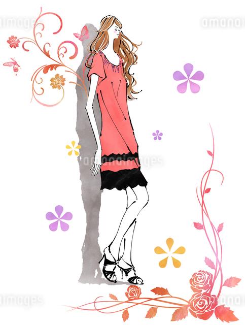 壁際に立つ女の子と花のイラスト素材 [FYI01639693]